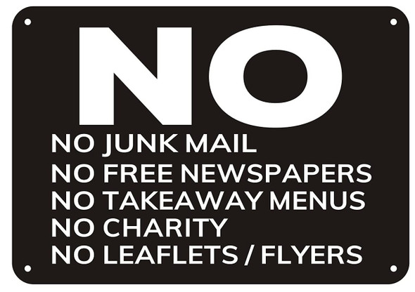 SIGNS No Junk Mail sign ( black,