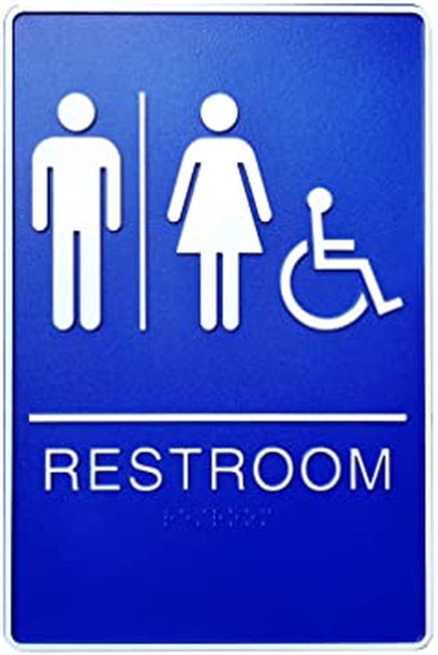 ADA Unisex Bathroom Restroom Sign(Blue,6x9 Comes