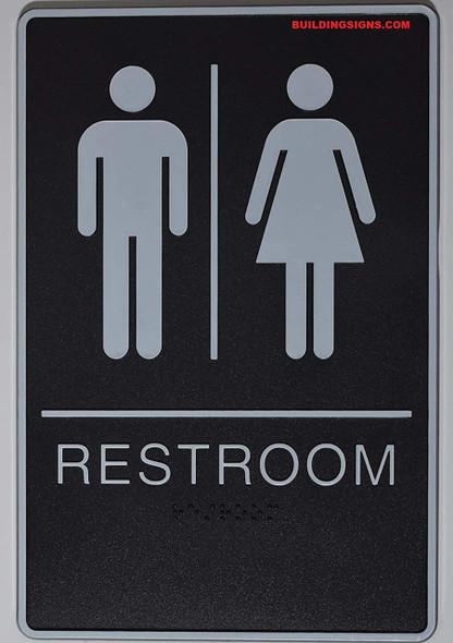 ADA Unisex Bathroom Restroom Sign(Black,6x9 Comes