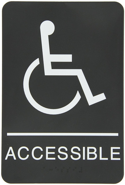 """ADA-Braille Tactile Sign, Legend""""(Handicapped) ACCESSIBLE"""" with"""