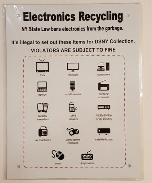 NYC Electronics Recycling Sign (ALUMINUM SIGNS