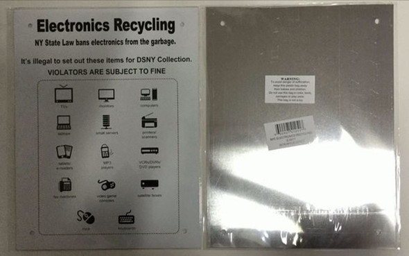 SIGNS NYC Electronics Recycling Sign (ALUMINUM SIGNS