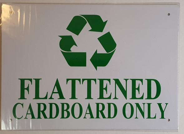 FLATTENED CARDBOARD ONLY SIGN – WHITE