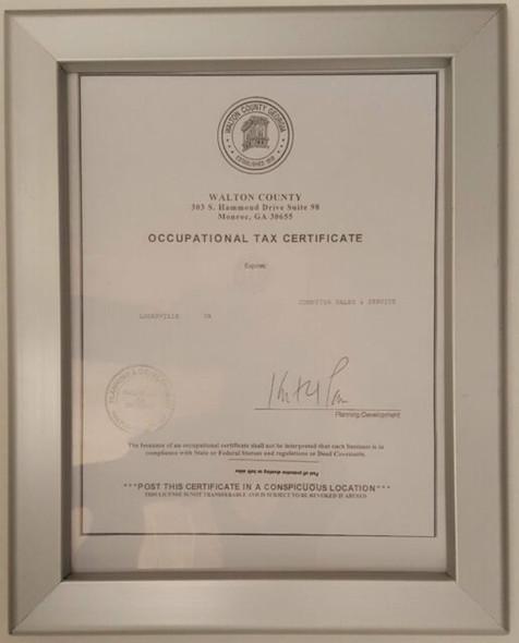 GA Tax Certificate frame 8.5x11 Heavy