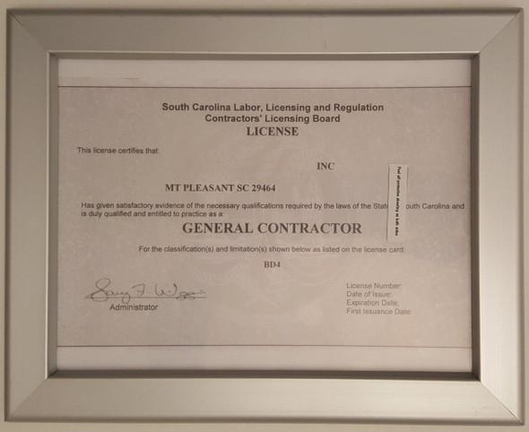 SC License frame 8.5x11 Heavy Duty