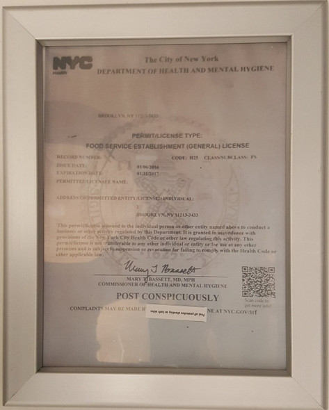 NYC Food Service Establishment Frame 8.5