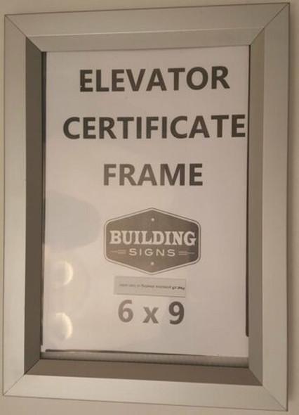 "Elevator certificate frame 6"" X 9"""