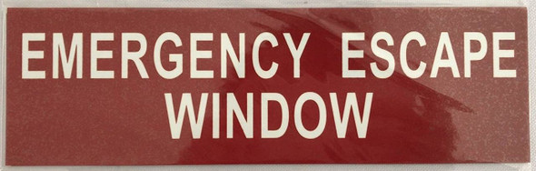 SIGNS EMERGENCY ESCAPE WINDOW SIGN - RED