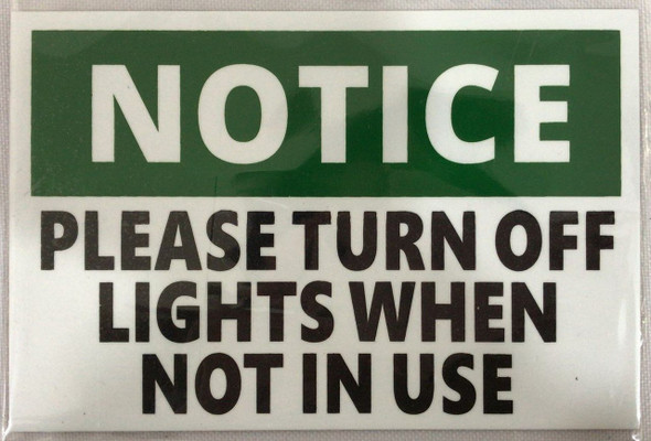 PLEASE TURN OFF THE LIGHTS SIGN