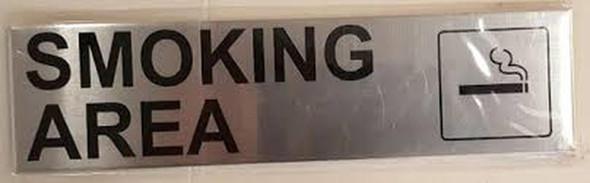 SIGNS SMOKING AREA SIGN (BRUSH aluminium ,ALUMINIUM