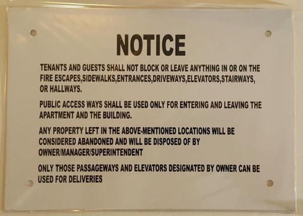 SIGNS Do not block Hallway sign (Aluminium