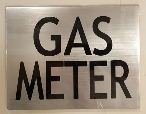 GAS METER SIGN (BRUSHED ALUMINUM 6
