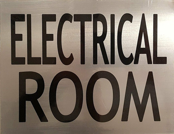 SIGNS ELECTRICAL ROOM SIGN (BRUSHED ALUMINUM, 6x7.75)-(ref062020)