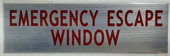 SIGNS EMERGENCY ESCAPE WINDOW SIGN (BRUSH Aluminum,Sign