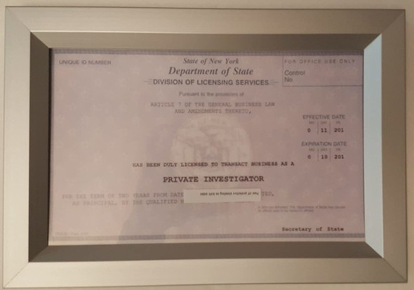 View Business License Frame
