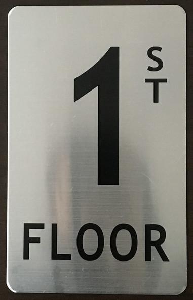 1st Floor Sign (Brush Aluminium, 5X8)-The