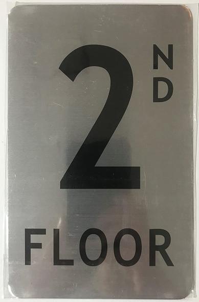 2nd floor SIGN (BRUSH ALUMINIUM, 5X8)-The