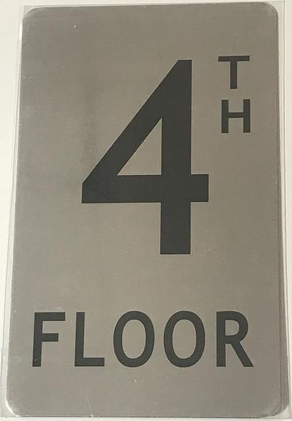 4TH FLOOR SIGN ( BRUSH ALUMINIUM