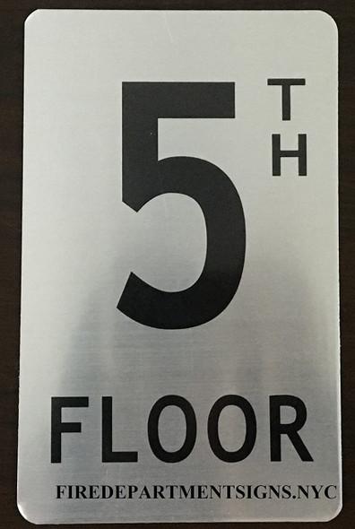 5TH Floor Sign (Brush Aluminium, 5X8)-The
