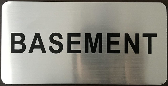 Basement Floor Sign (Brush Aluminium, 5X8)-The