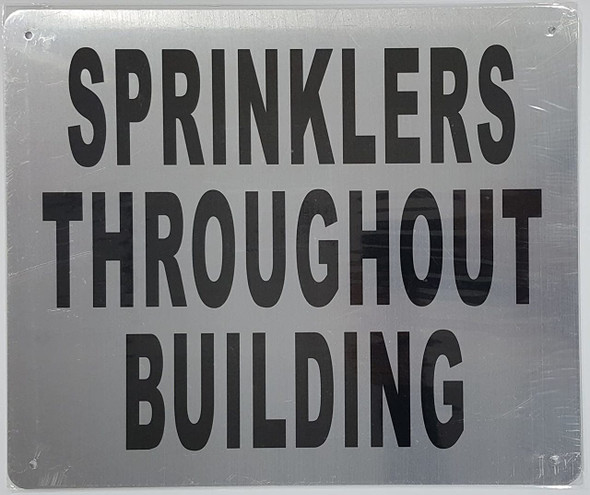 SIGNS SPRINKLERS Throughout Building Sign (Brushed Aluminium,