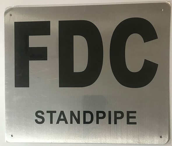 FDC Standpipe Sign - (Brushed Aluminium,