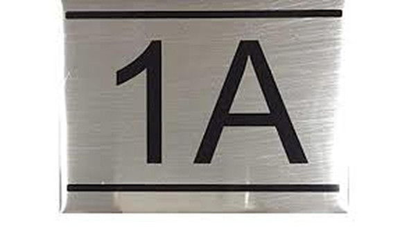APARTMENT NUMBER SIGN -1A -BRUSHED ALUMINUM