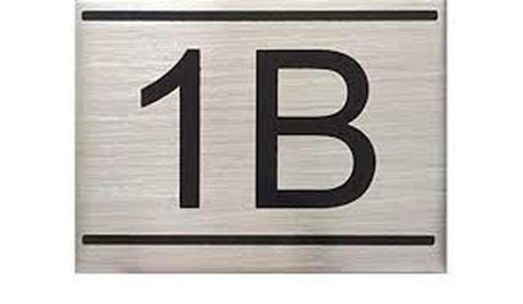 APARTMENT NUMBER SIGN -1B -BRUSHED ALUMINUM