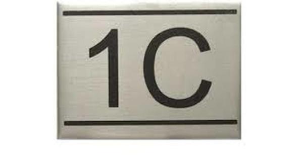 APARTMENT NUMBER SIGN -1C -BRUSHED ALUMINUM