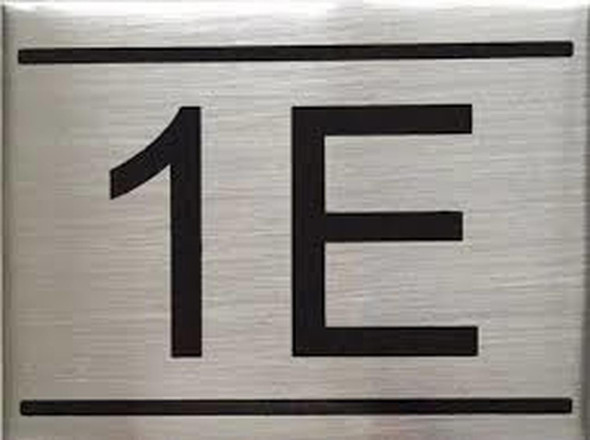 SIGNS APARTMENT NUMBER SIGN -1E -BRUSHED ALUMINUM
