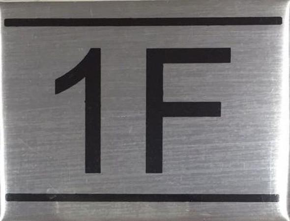 APARTMENT NUMBER SIGN -1F -BRUSHED ALUMINUM