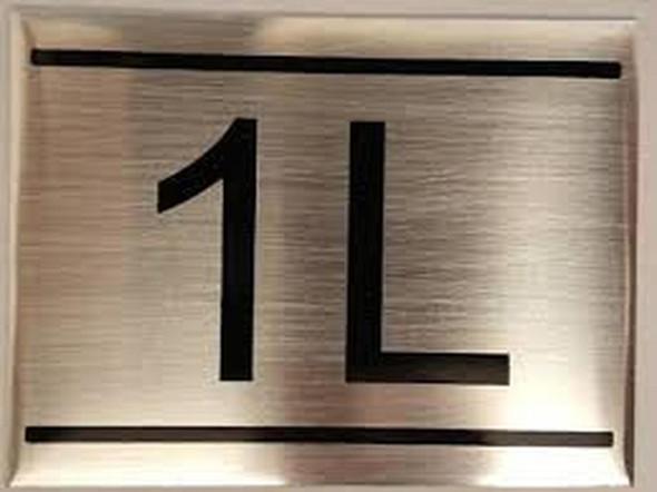 APARTMENT NUMBER SIGN -1L -BRUSHED ALUMINUM