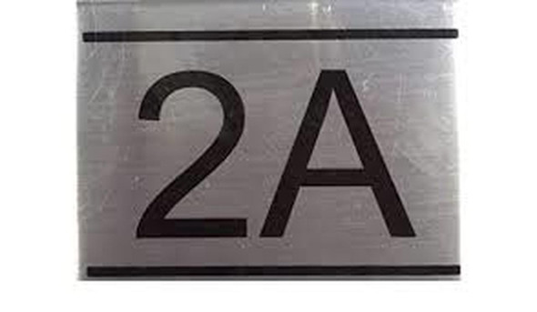 APARTMENT NUMBER SIGN -2A -BRUSHED ALUMINUM