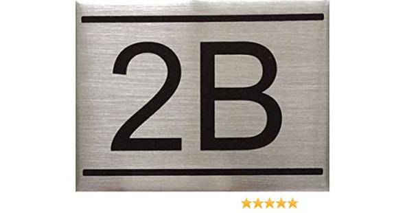 SIGNS APARTMENT NUMBER SIGN -2B -BRUSHED ALUMINUM