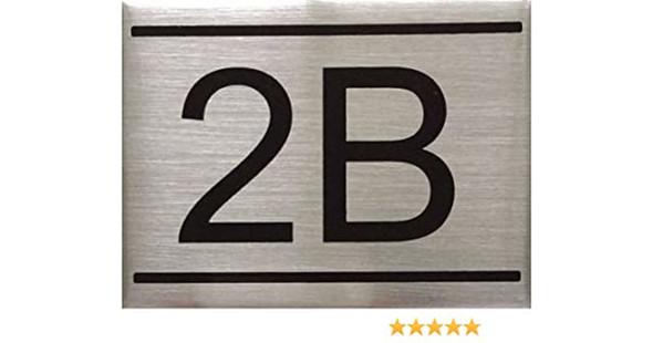 APARTMENT NUMBER SIGN -2B -BRUSHED ALUMINUM