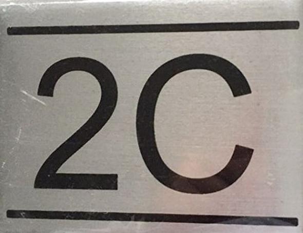 APARTMENT NUMBER SIGN -2C-BRUSHED ALUMINUM (2.25X3,