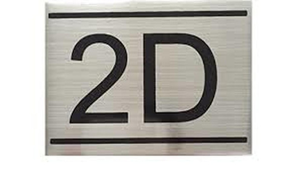 APARTMENT NUMBER SIGN -2D -BRUSHED ALUMINUM