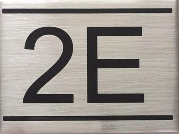 SIGNS APARTMENT NUMBER SIGN -2E -BRUSHED ALUMINUM