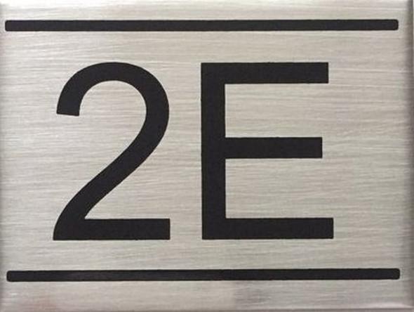 APARTMENT NUMBER SIGN -2E -BRUSHED ALUMINUM