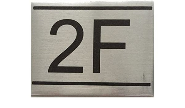 SIGNS APARTMENT NUMBER SIGN -2F-BRUSHED ALUMINUM (2.25X3,