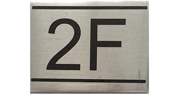 APARTMENT NUMBER SIGN -2F-BRUSHED ALUMINUM (2.25X3,