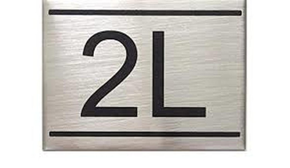 SIGNS APARTMENT NUMBER SIGN -2L -BRUSHED ALUMINUM