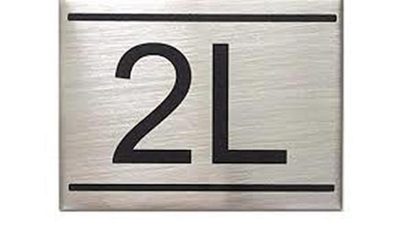 APARTMENT NUMBER SIGN -2L -BRUSHED ALUMINUM
