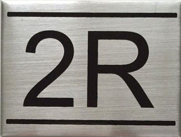 SIGNS APARTMENT NUMBER SIGN -2R -BRUSHED ALUMINUM