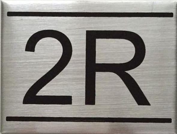 APARTMENT NUMBER SIGN -2R -BRUSHED ALUMINUM