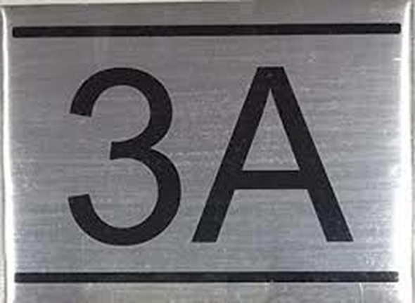 APARTMENT NUMBER SIGN -3A -BRUSHED ALUMINUM