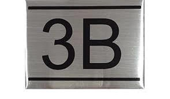 APARTMENT NUMBER SIGN -3B -BRUSHED ALUMINUM
