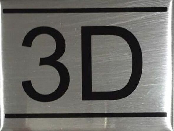 SIGNS APARTMENT NUMBER SIGN -3D -BRUSHED ALUMINUM