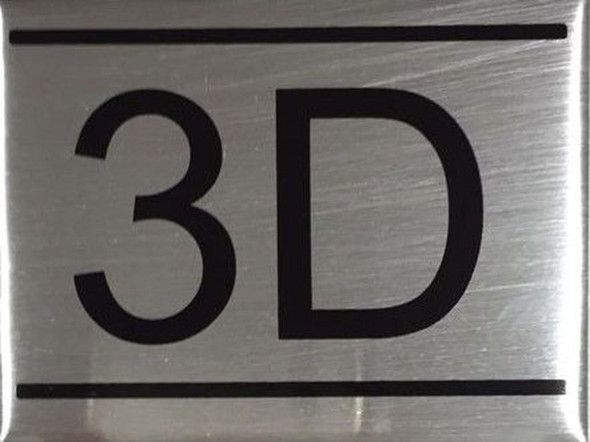 APARTMENT NUMBER SIGN -3D -BRUSHED ALUMINUM