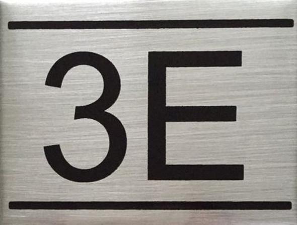 APARTMENT NUMBER SIGN -3E -BRUSHED ALUMINUM